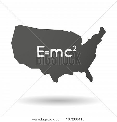 Isolated Usa Vector Map Icon With The Theory Of Relativity Formula