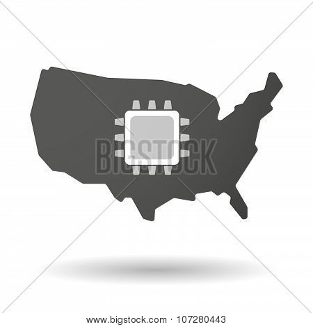 Isolated Usa Vector Map Icon With A Cpu