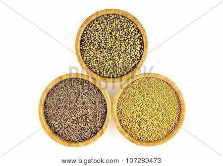 Aerial Of Bowls Of Cumin Seasoning, Pickling Mustard, Cilantro Pods