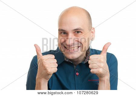 Handsome Bald Man Showing His Thumbs Up