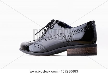 Footwear Concept. Horizontal Image. Pair Of Black Female Classic Leather Shoes Isolated On The White