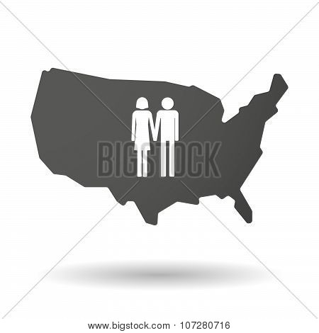 Isolated Usa Vector Map Icon With A Heterosexual Couple Pictogram
