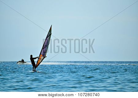 Silhouette Of A Windsurfer