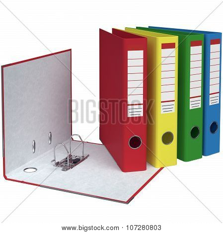 Set of office folders different colors