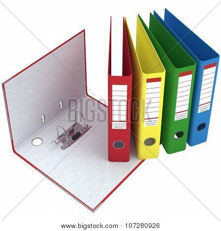 Office folder, closed, open