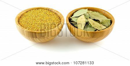 Mustard Pods With Bay Laurel Leaf Studio Isolated On White