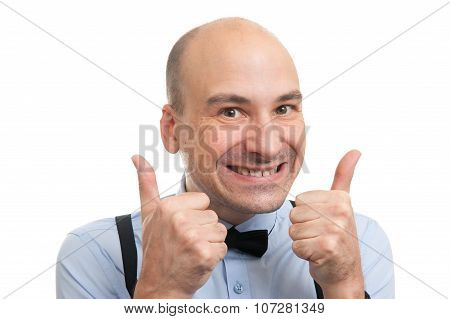 Successful Bald Man Showing His Thumbs Up