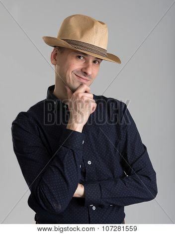 Man Wearing Fedora Hat