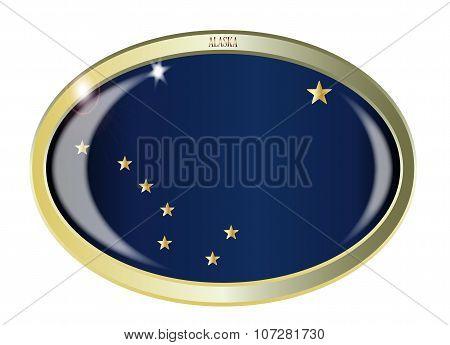 Alaska State Flag Oval Button
