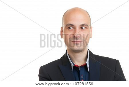 Handsome Bald Man Looking To Copy Space