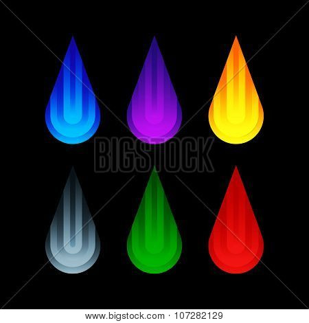 Set of Isolated Colorful Decorative Water Drops Icons
