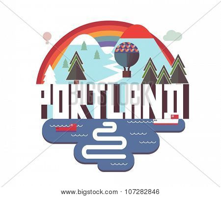 Portland, Oregon great destination to visit, vector cartoon