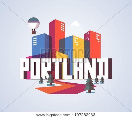 Portland, Oregon great destination to visit, vector cartoon