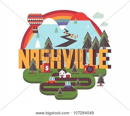 Nashville, Tennessee great destination to visit, vector cartoon