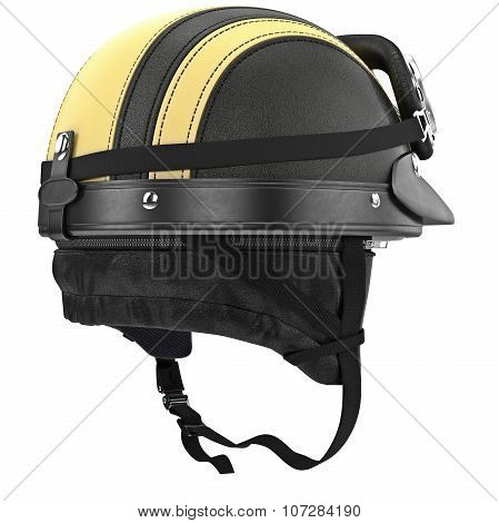 Motorcycle helmet with yellow stripes and ears