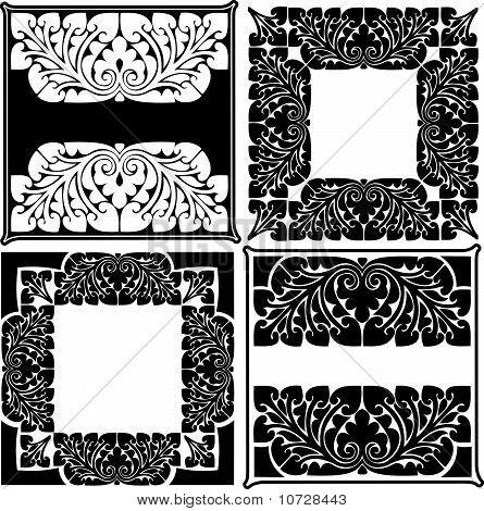 Four Black And White High Ornate Quads.