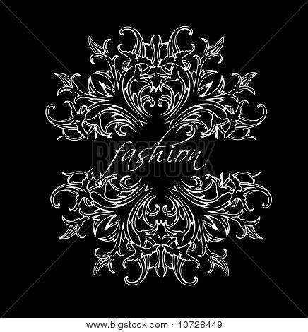 Black And White Fashion Leaves Ornate Quad