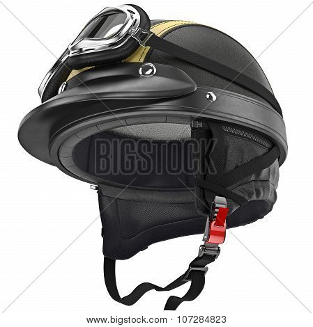 Protective ears for fastening leather motorcycle helmet retro style