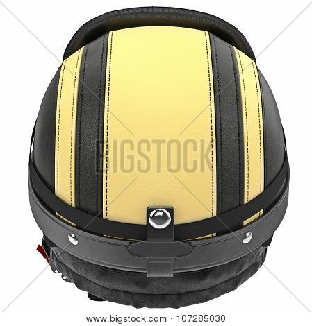 Biker motorcycle helmet with yellow stripes and ear protection