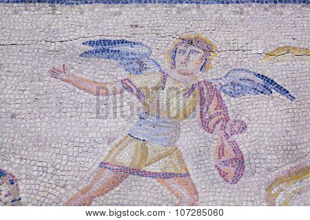 Angel On Historical Background Of House Floor With Roman Style Mosaic