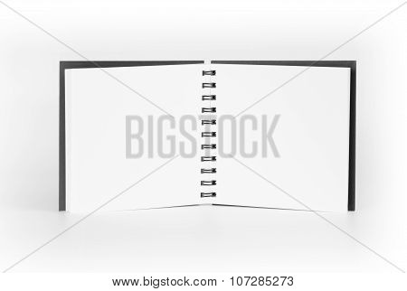 Blank Open Notepad Standing Over White Background.