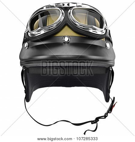 Biker motorcycle helmet with goggles and protective ears, front view