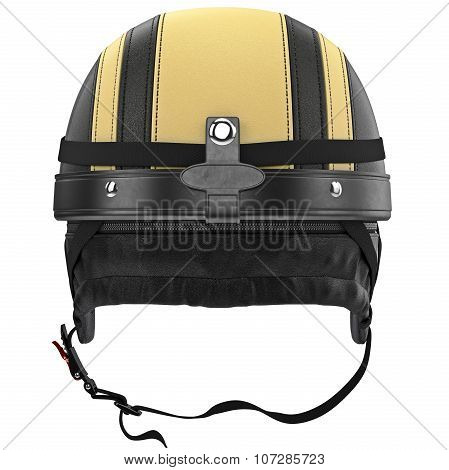 Motorcycle helmets with chrome studs and protective ear, back view
