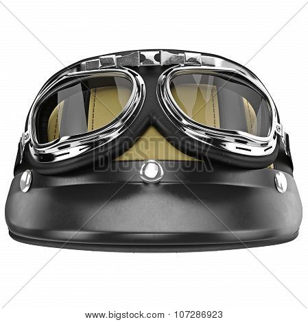 Leather motorcycle helmet with yellow stripes front view
