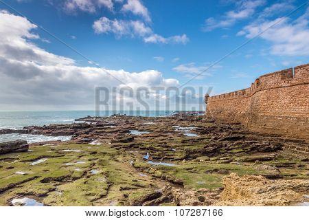 Bastion of Cadiz at low tide, Spain