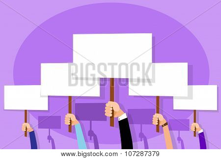 Group of People Hands Crowd Hold Placard Sign Board