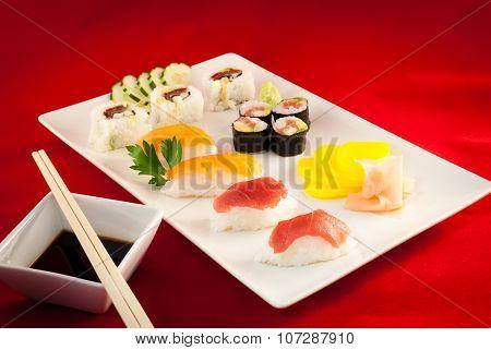 Sushi Bluefin Tuna Fish Varied with chopsticks