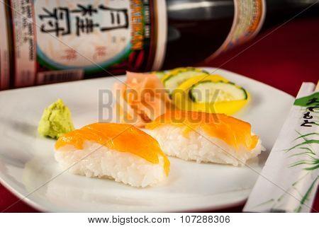 Sushi Salmon Nigiri with chopsticks