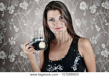 Portrait Of Sexy Smiling Young Woman With Camera