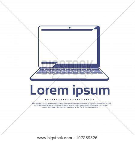 Laptop Computer Logo Outline Icon Vector