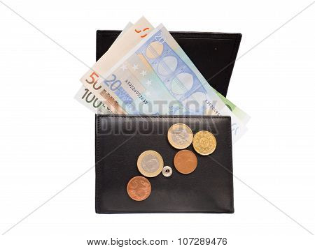 Wallet With Euro Banknotes And Coins Isolated On White