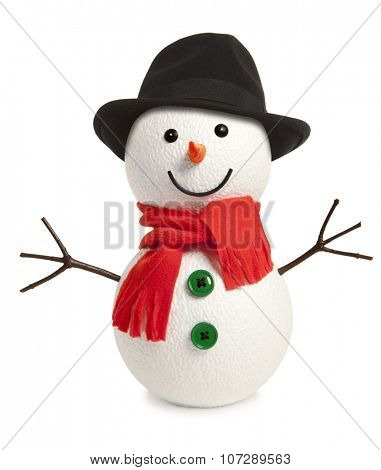 Happy snowman isolated on white background