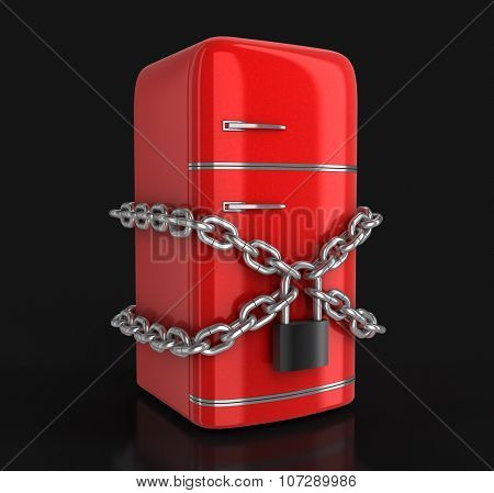 Retro refrigerator and lock (clipping path included)