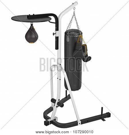 Set punching bag hanging on the rack