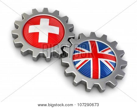British and Swiss flags on a gears (clipping path included)