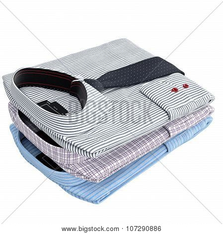 Set classic men's striped shirt with ties