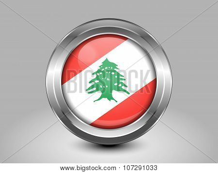 Flag Of Lebanon. Metal Round Icon