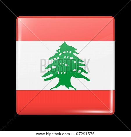 Flag Of Lebanon. Glassy Icon Square Shape. This Is File From The Collection Flags Of Asia