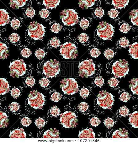 Strawberry Black Background Pattern