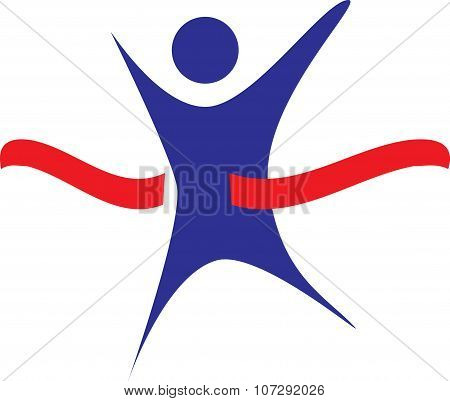 Finish Line Race Logo Blue Red