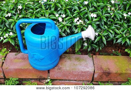 Blue water can/pot near white flowers in flowerbed with red brick border