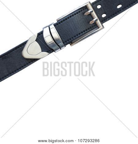 Leather belt on a white background