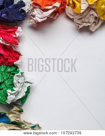 crumpled colorful paper ball