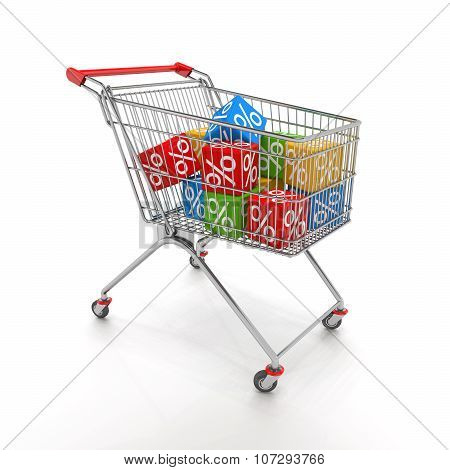 Shopping Cart With Colorful Cubes Of Percent