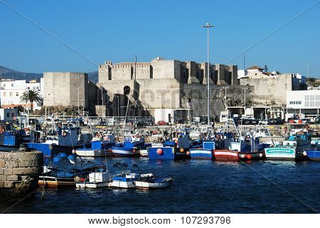 Tarifa castle and harbour.