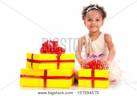 Time To Give Presents! Young Girl With Curly Hair And Yellow Gift Box On White Background